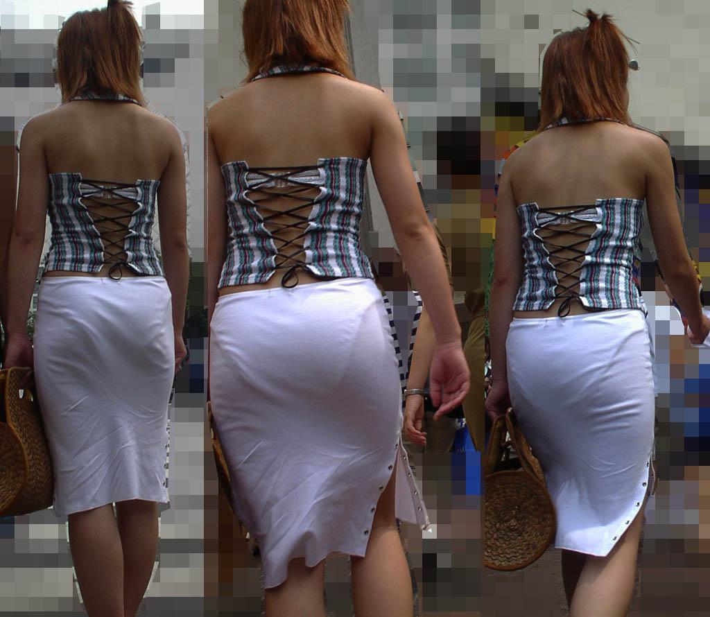 ギャル 背中 丸見え 後ろ姿 セクシー 街撮り エロ画像【5】
