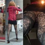 柄入りストッキングやセクシー網タイツの街撮り脚撮りエロ画像