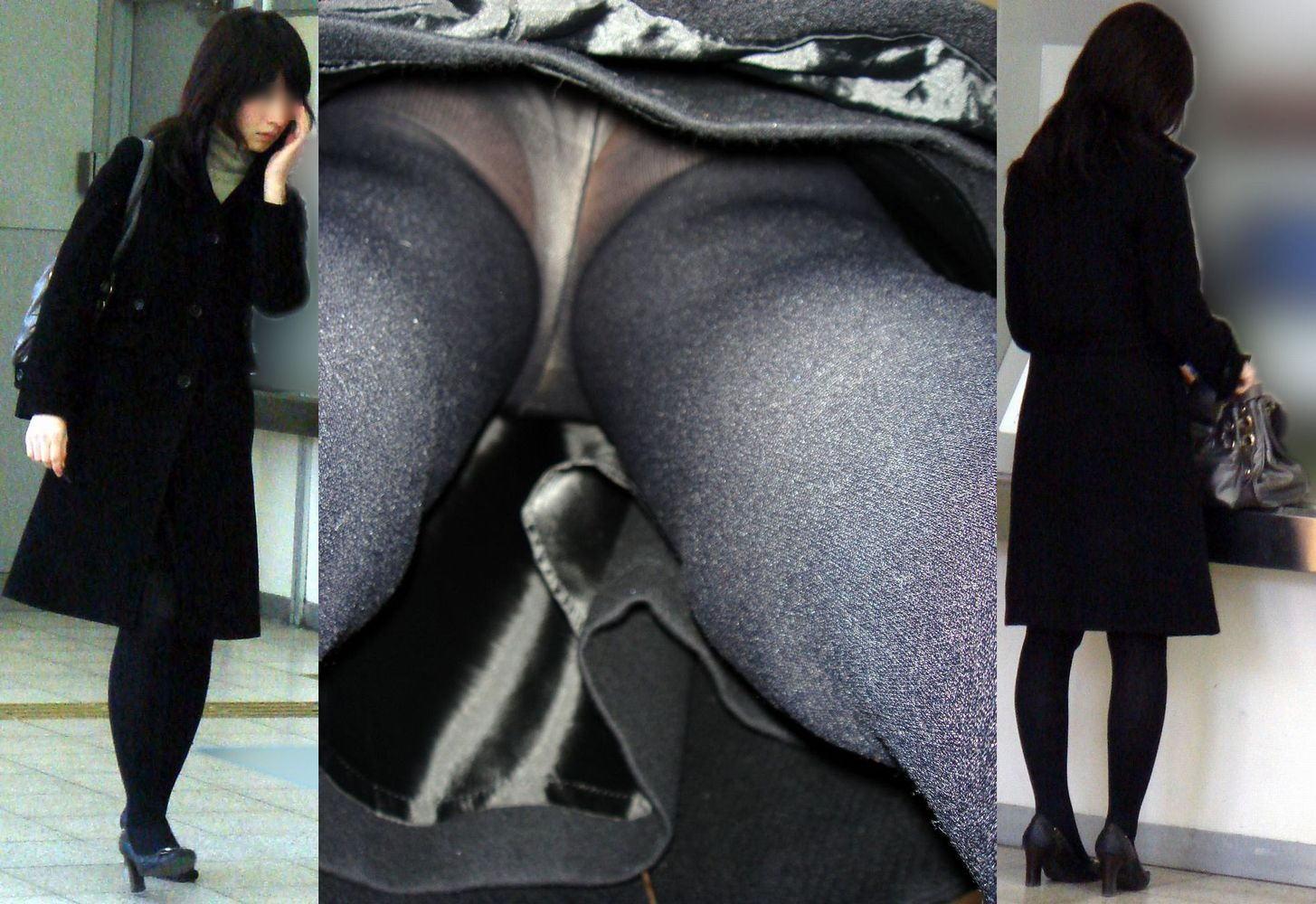タイツ 逆さ 冬 パンチラ 黒パンスト 黒タイツ パンツ 逆さ撮り エロ画像【27】