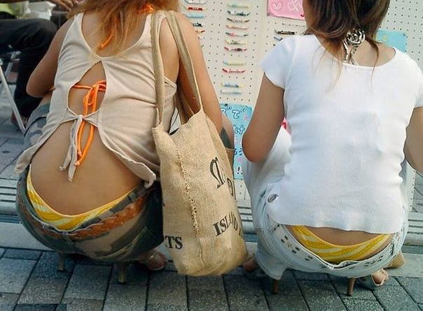 街撮り ギャル パンツ 派手 腰パン ハミパン エロ画像
