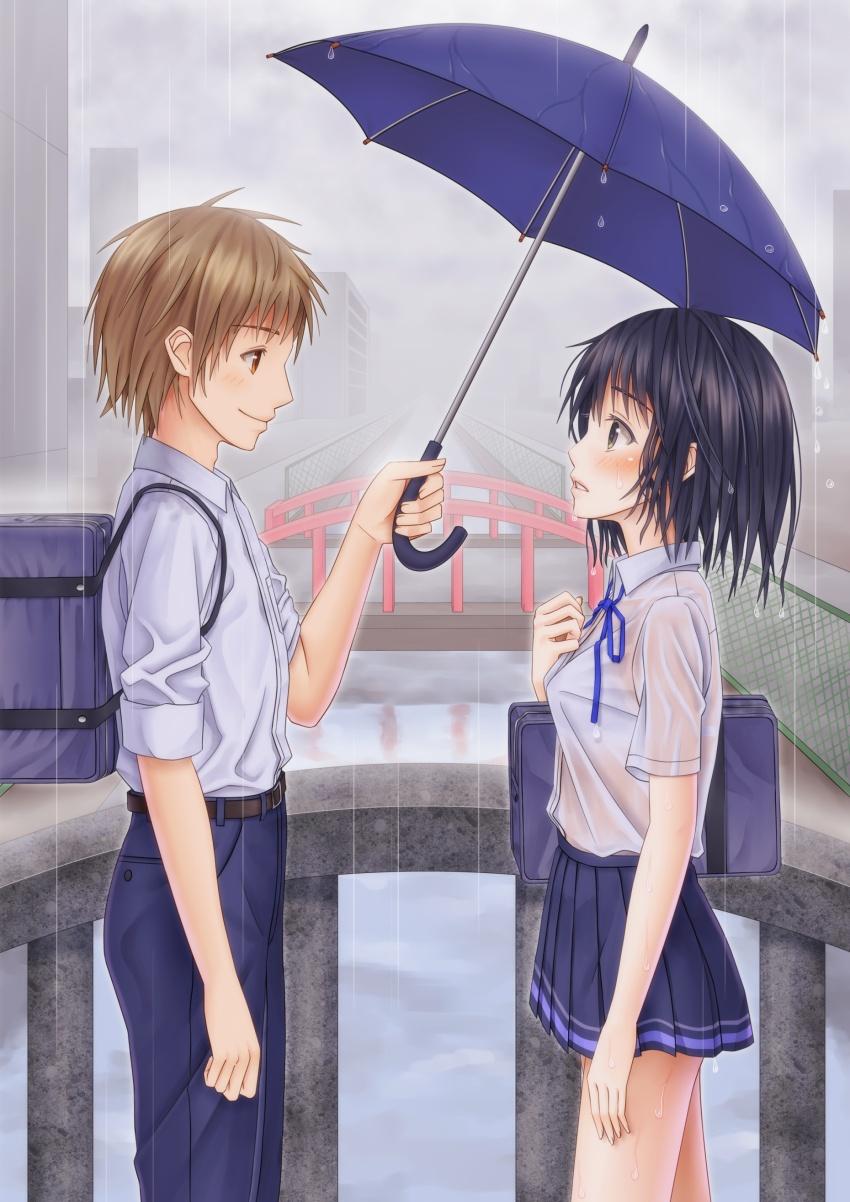 梅雨 雨 下着 透ける 二次元 濡れ透け エロ画像【7】