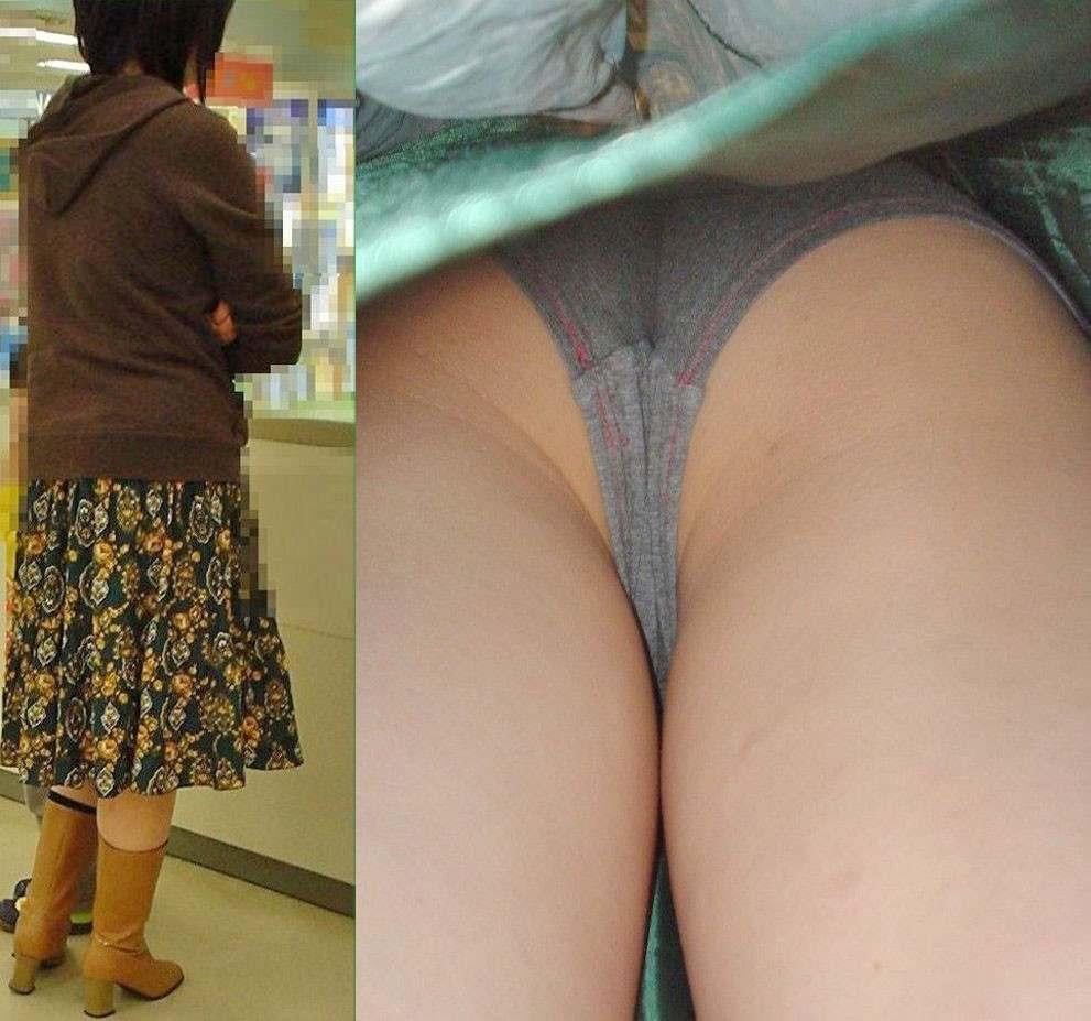 jk 逆さ撮り 綿 綿パンツ 生理用パンツ 逆さ撮り 地味パン パンチラ エロ画像【8】