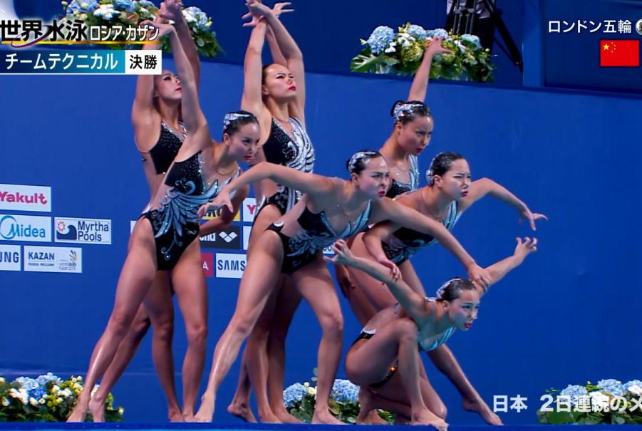 世界水泳シンクロが超ハイレグ食い込みだらけでエロすぎ!!