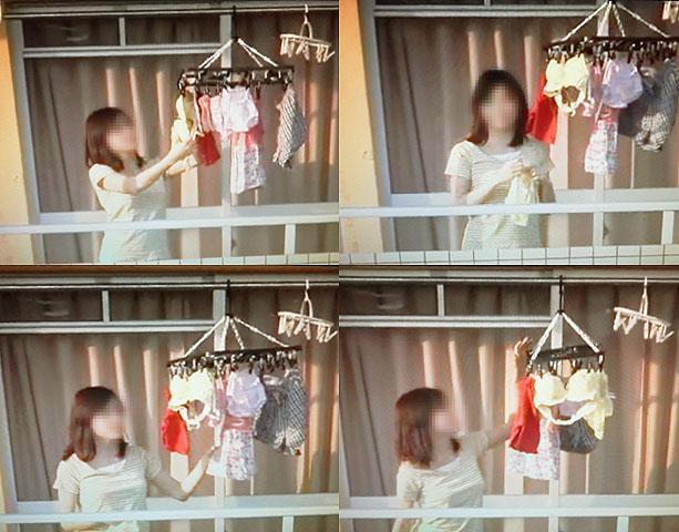 ベランダ 盗撮 下着 洗濯物 干す女性 エロ画像【15】