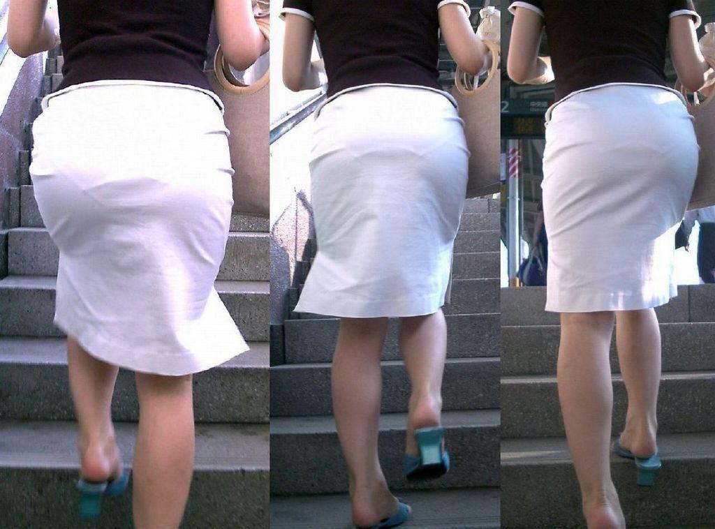 タイトスカート お尻 透けパン エロ画像【29】