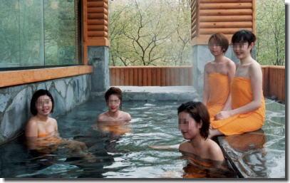 露天風呂で記念撮影!温泉大好きな熟女やギャルのエロ画像 ④