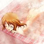 お風呂や温泉でお湯の中からお尻を突き出す二次元エロ画像