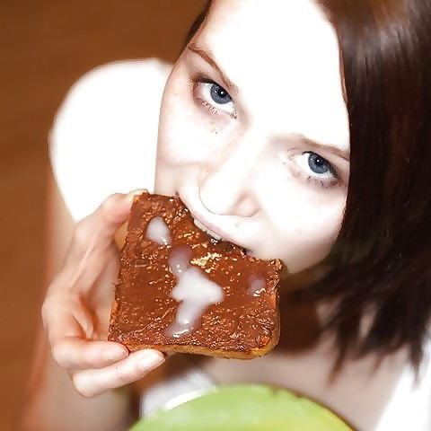 食ザー 食べ物 精子 ぶっかけ ザーメン エロ画像【18】
