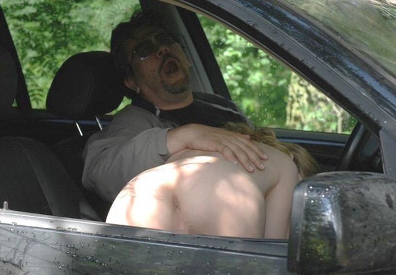 外国人 車内 フェラ エッチ ドライブ エロ画像
