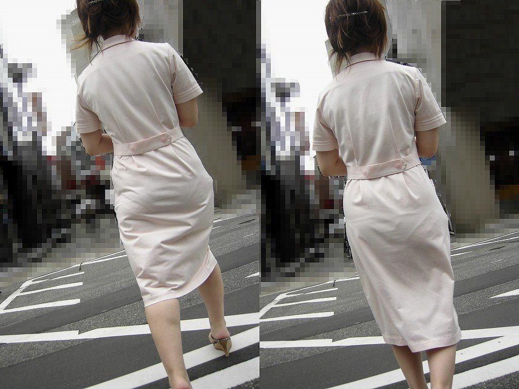 ナース お尻 パンティライン 白衣 透けパン エロ画像【25】