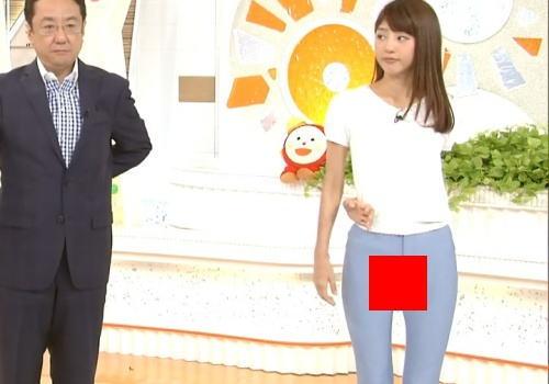 【画像あり】岡副麻希アナ、ストレッチでマンコの割れ目が完全に映ってしまう放送事故wwwwww