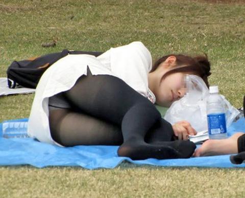 公園 芝生 パンツ 休日 パンチラ エロ画像【7】