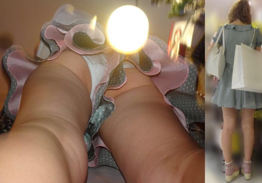 キュロット 隙間 パンツ 逆さ撮り パンチラ エロ画像