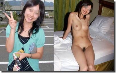 脱ぐ前と脱いだ後!着衣と脱衣で全裸が際立つ比較ヌード画像集 ③