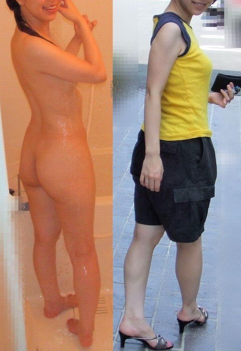 脱ぐ前 脱いだ後 着衣 脱衣 全裸 比較 ヌード エロ画像【2】