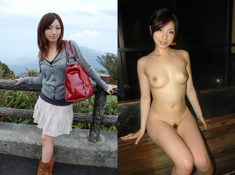脱ぐ前 脱いだ後 着衣 脱衣 全裸 比較 ヌード エロ画像【7】