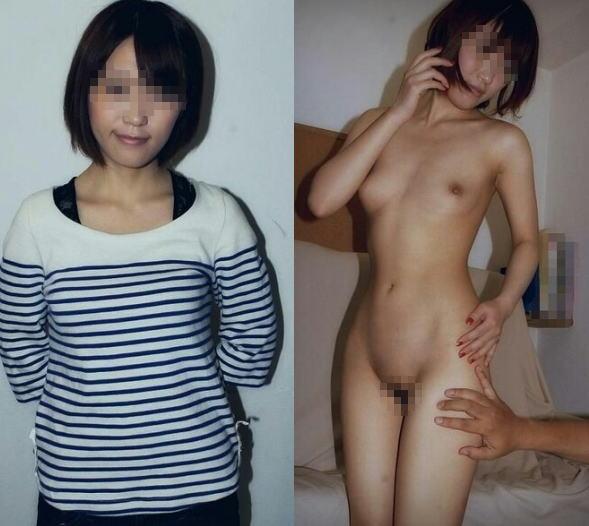 脱ぐ前 脱いだ後 着衣 脱衣 全裸 比較 ヌード エロ画像【17】