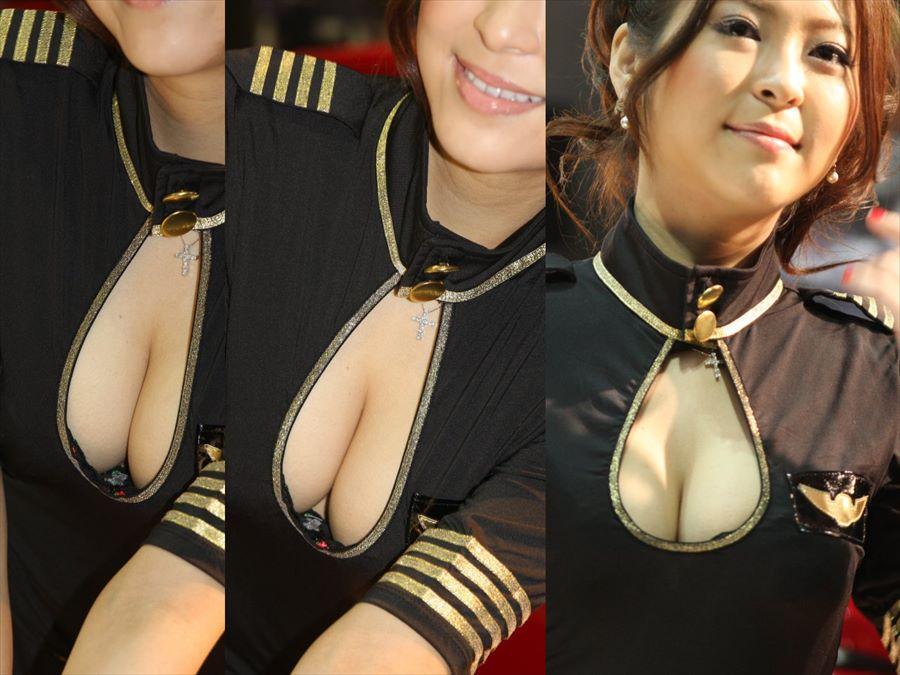 胸チラ 乳首チラ キャンギャル コンパニオン 胸元 エロ画像【11】