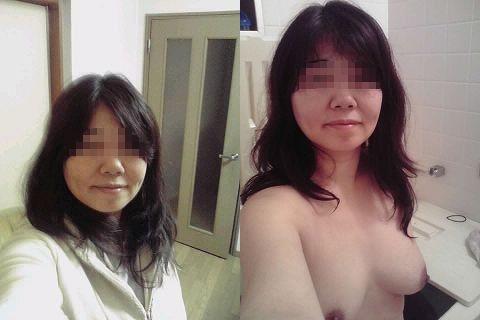 熟女 着衣 脱衣 おばさん ビフォー アフター エロ画像【28】