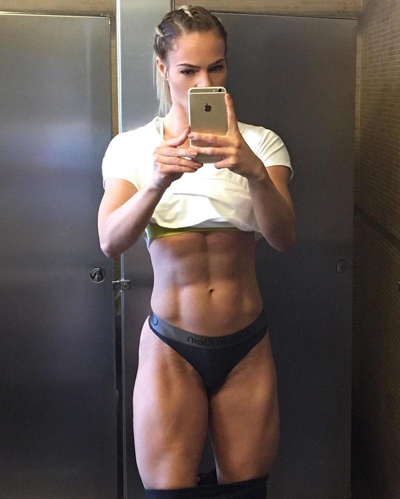 腹筋 筋肉 美しい 外国人 美女 自撮り エロ画像【35】