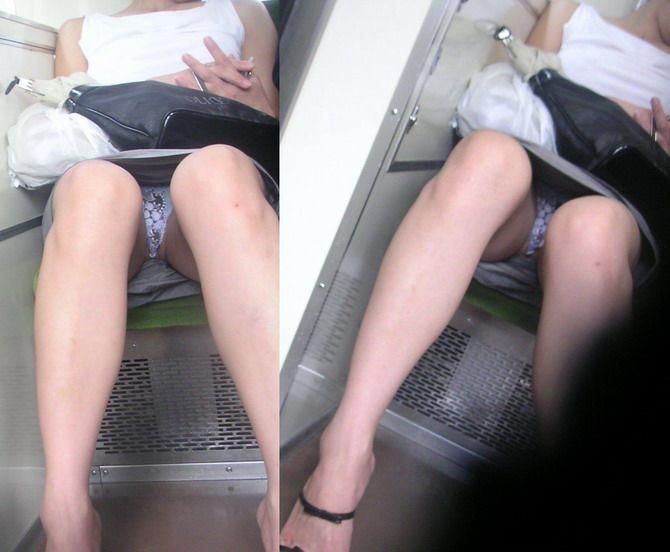 電車 パンチラ パンツ モロ エロ画像【12】
