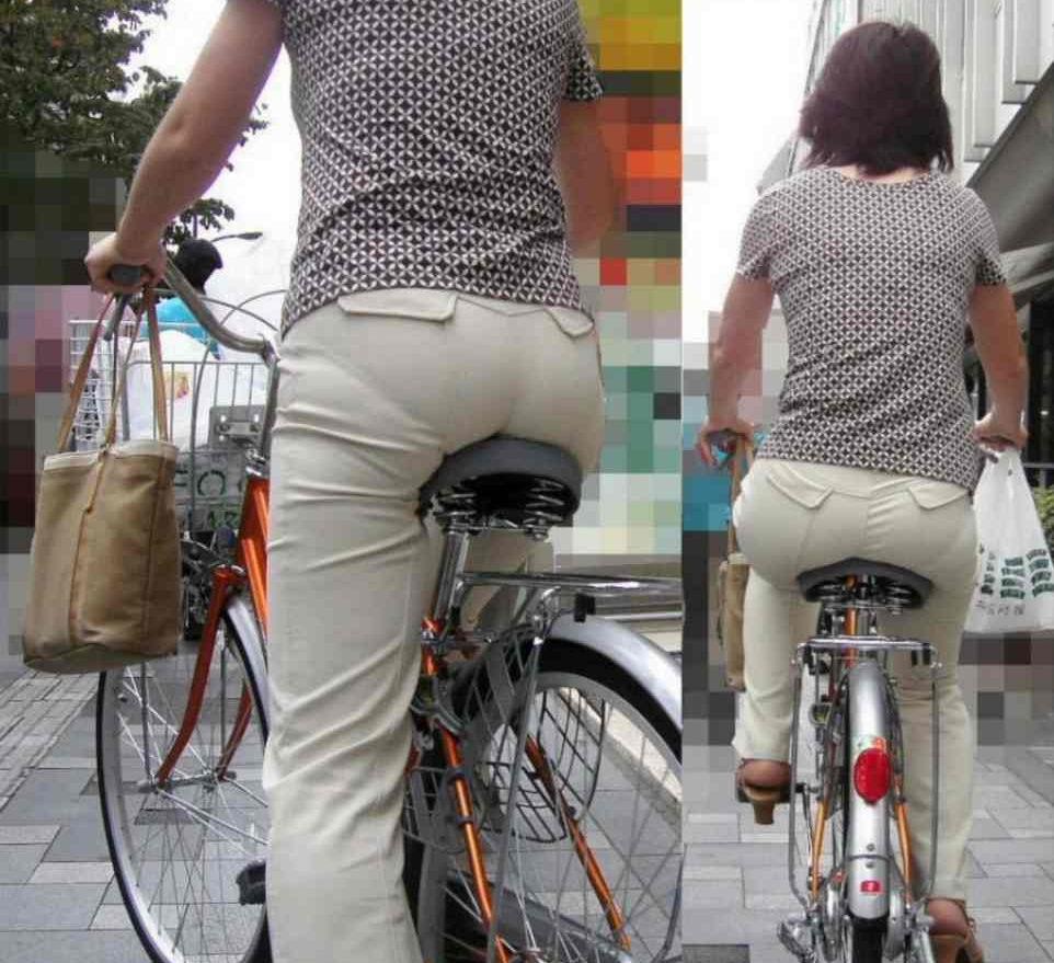 お尻 透けパン パン線 自転車 サドル エロ画像【11】