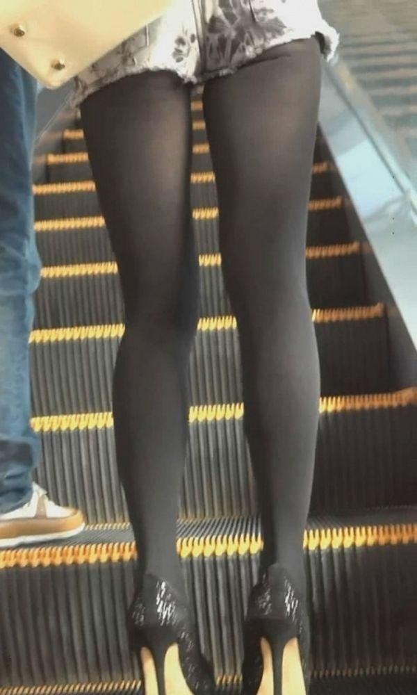 パンスト タイツ ショートパンツ 冬 太もも 街撮り エロ画像【7】