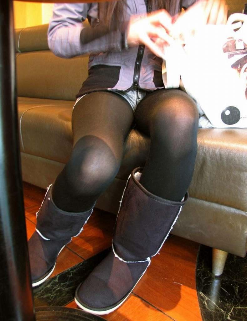 パンスト タイツ ショートパンツ 冬 太もも 街撮り エロ画像【15】