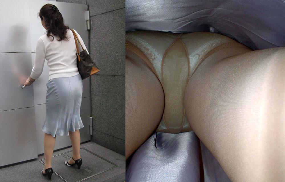 ベージュパンスト OL センターシーム マチ付き エロ画像【39】