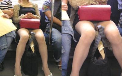 電車内でパンチラにご対面したエロ画像 ②