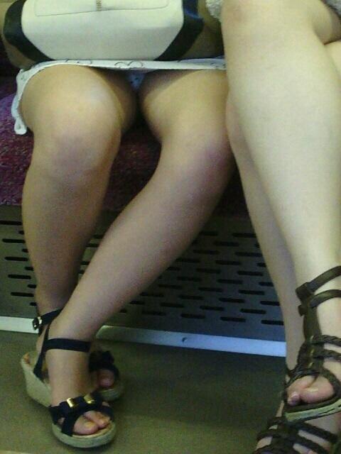 電車内 パンチラ 対面 エロ画像【3】