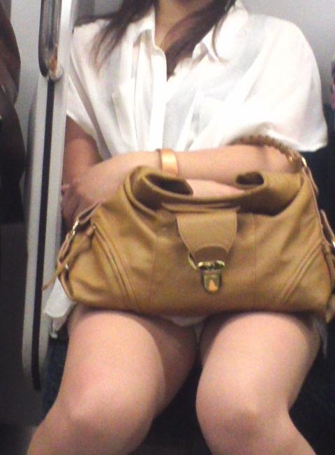 電車内 パンチラ 対面 エロ画像【14】