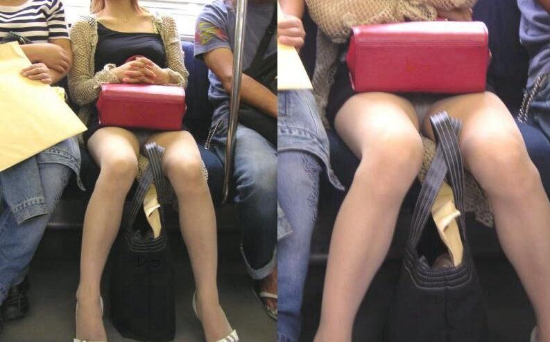 電車内 パンチラ 対面 エロ画像【38】