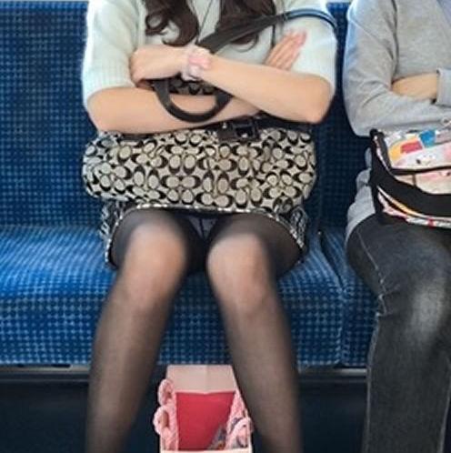 電車内 パンチラ 対面 エロ画像【55】