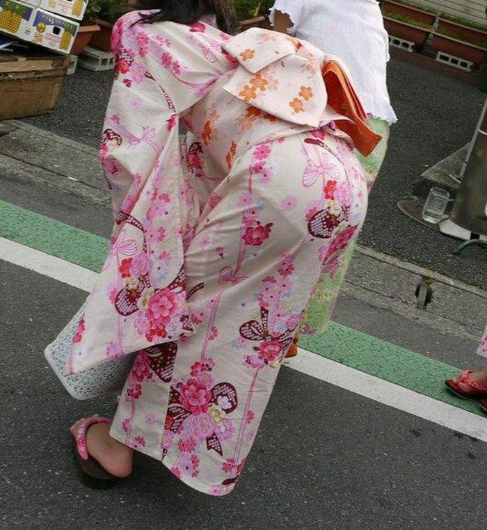 浴衣 お尻 透けパン パンティーライン エロ画像【41】