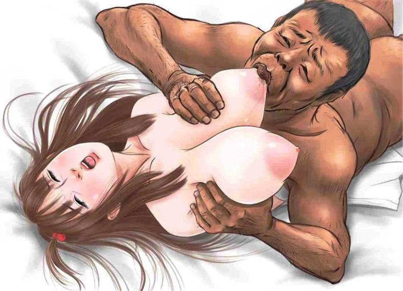 オヤジ・ジジイに乳首を吸われる二次元エロ画像
