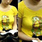 電車内にノーブラがいた透け乳首や乳首チラリのエロ画像