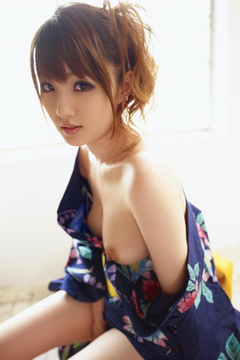 浴衣 着物 おっぱい ポロリ 和服 ズリ下げ エロ画像【43】