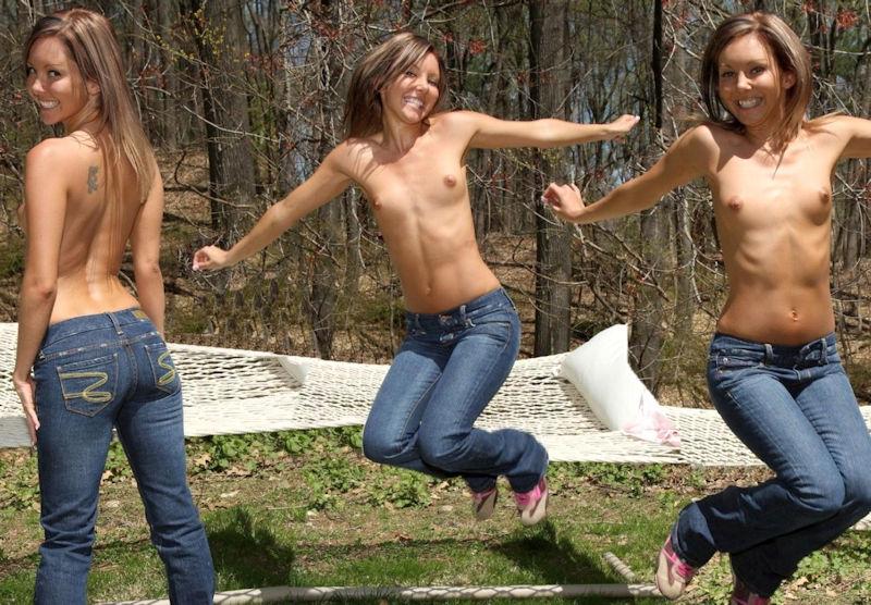 おっぱいジーンズ姿の外国人!トップレスデニムのエロ画像 表紙