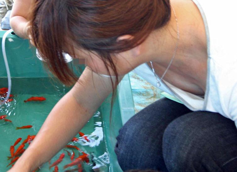 金魚すくい・花火・お祭りで胸チラしてる日本の夏のエロ画像