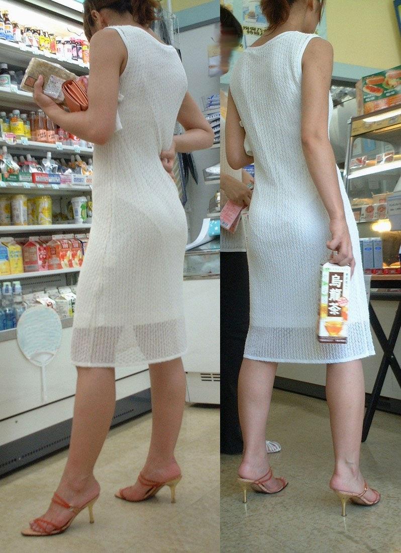 コンビニ 店内 透けパン 透けブラ 買い物客 エロ画像【2】