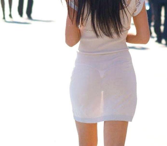 ワンピース 透け感 下着 透ける 街撮り 白ワンピ エロ画像【36】