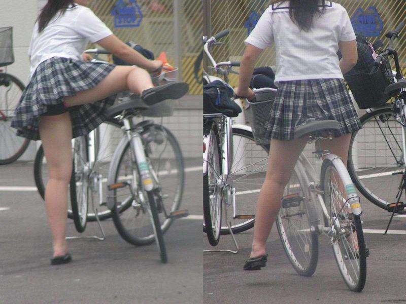 自転車 またがり パンチラ エロ画像【15】