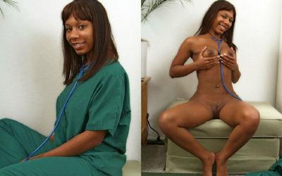 黒人女性のヌードを比較する着衣と脱衣のエロ画像 ④