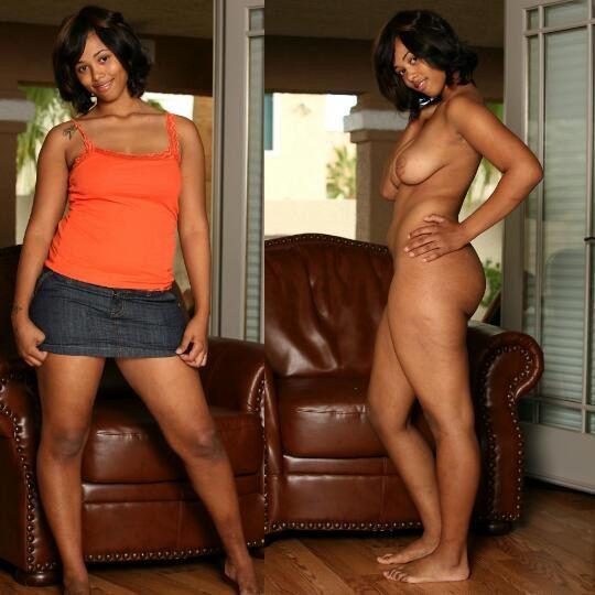 黒人女性 ヌード 比較 着衣 脱衣 エロ画像【36】