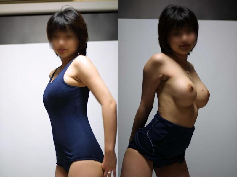 おっぱいをポロリと出すスク水女子のエロ画像