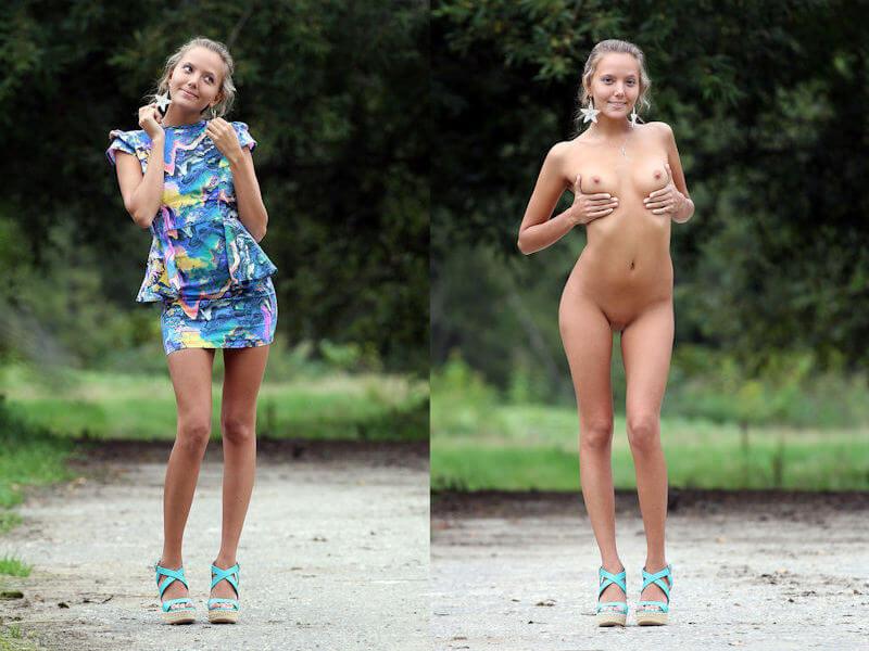 外国人美女の全裸と着衣を比較するエロ画像
